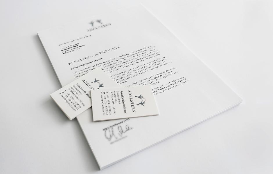 Adelsteen Briefbogen und Visitenkarten